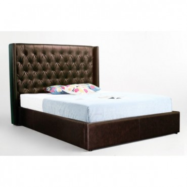 Leather WingBack Queen Bed Frame